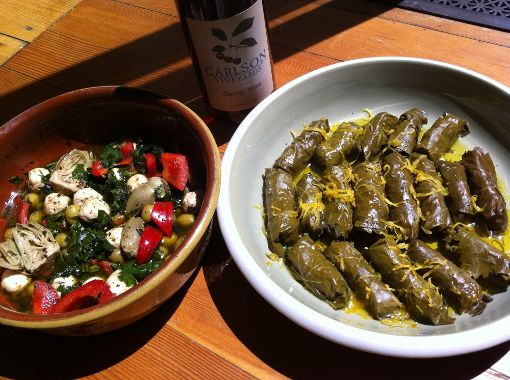 time for a picnic - fresh dolmades, marinated vegetables and baby mozzarella, and a bottle of local Colorado cherry wine