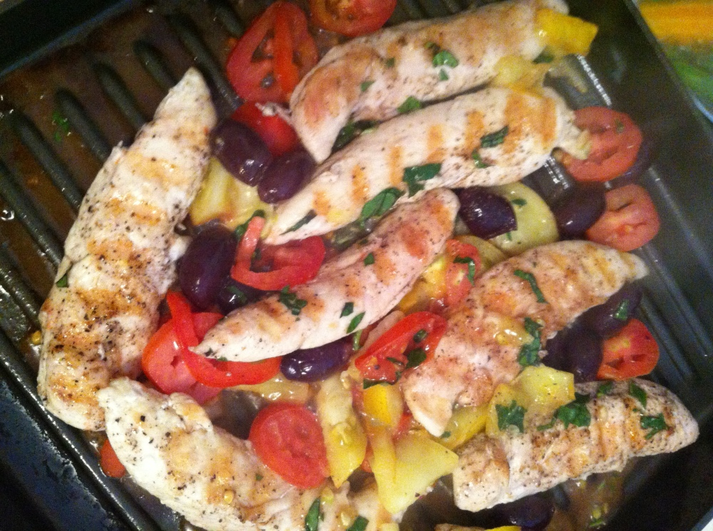 after the chicken is grilled, simply saute tomatoes, chives, basil and olives right in the pan
