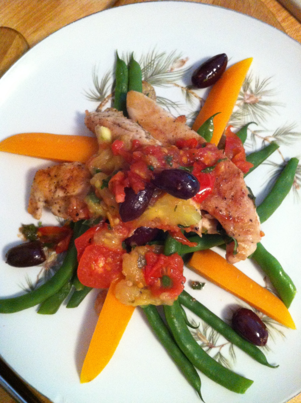 Grilled Chicken with Stewed Tomatoes Over Pole Beans and Carrots