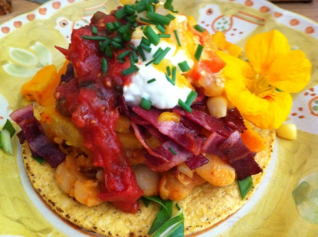 Butternut Squash, Smoky Lima Bean and Turkey Bacon Tostada