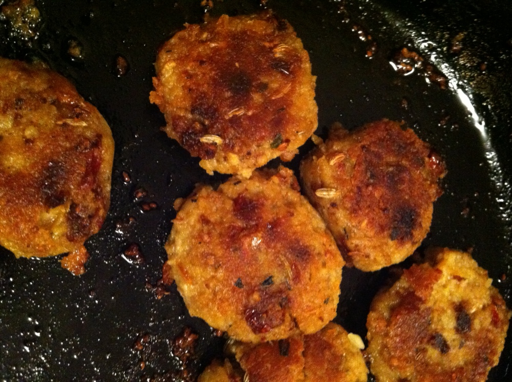 sauteing the tempeh sausage patties