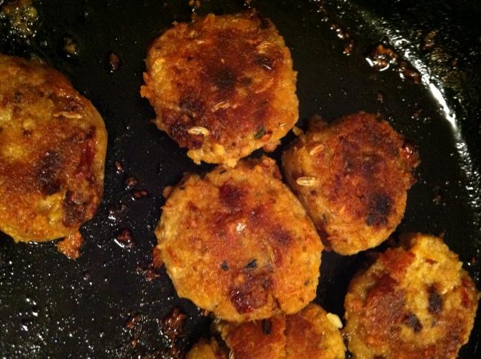 sauteing the tempeh sausage patties