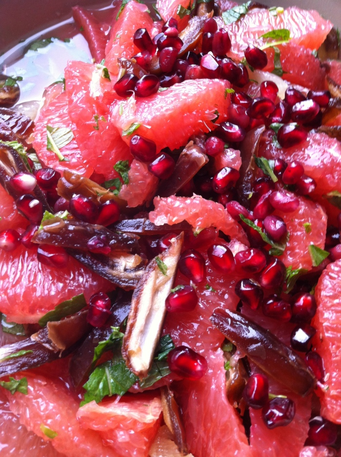 Grapefruit, Lemon, Pomegranate and Date Salad with Mint