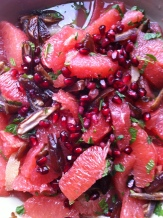 ruby grapefruit, dates, lemon, pomegranate and mint