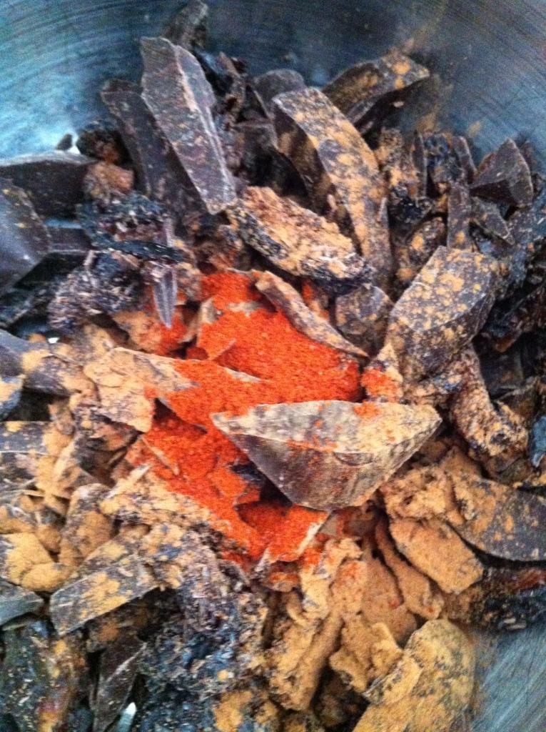 exotica: dark chocolate chunks, dried plums, cinnamon and chili powder