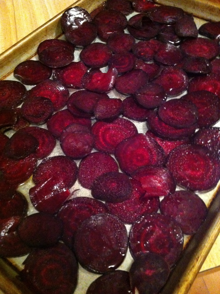beets sliced and tossed with a light amount of olive oil