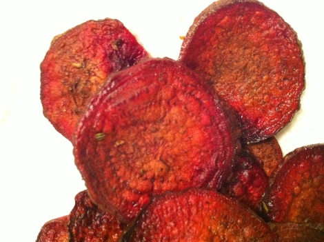Beet chips with kosher salt and rosemary