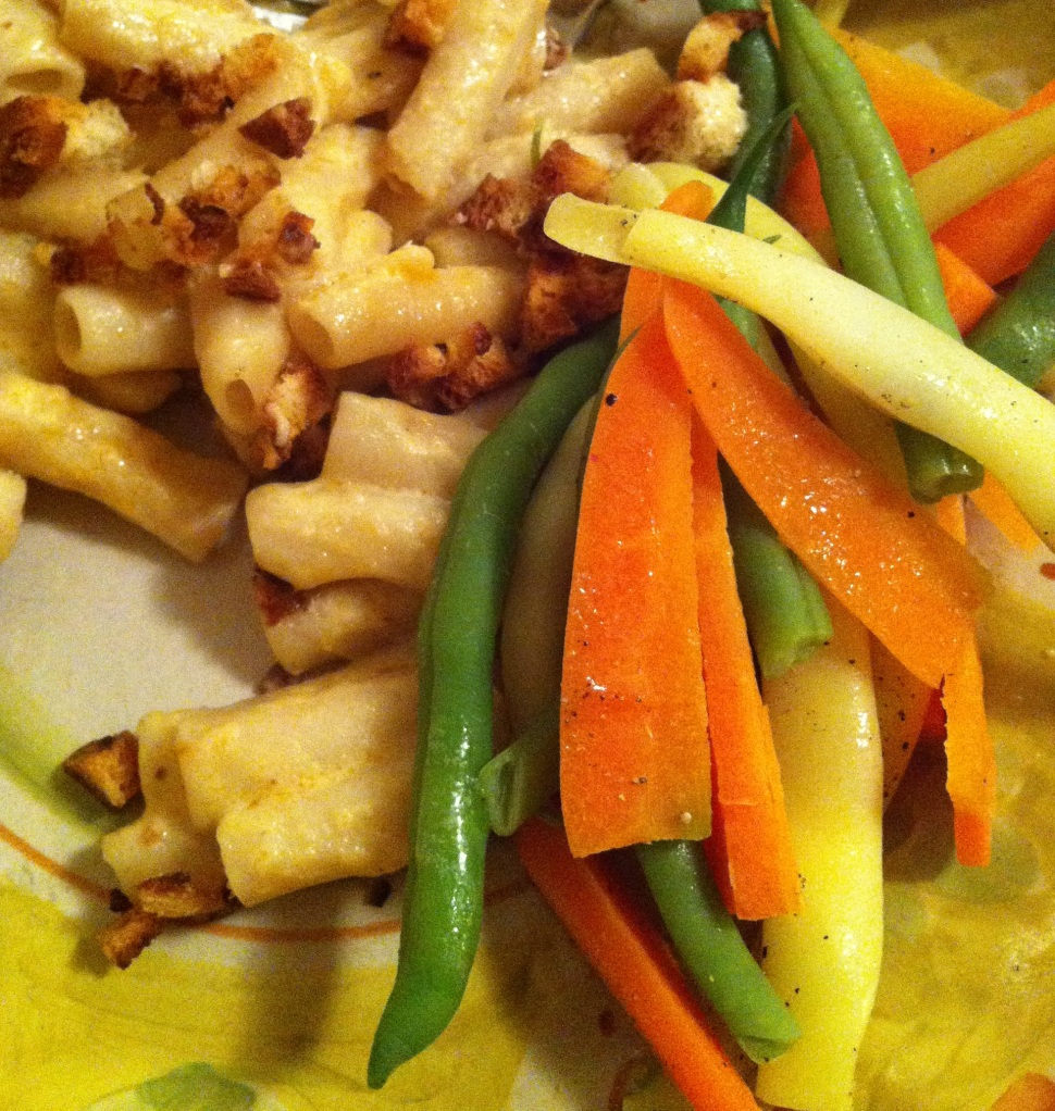 serving it up with beans and carrots from the 2012 garden!
