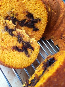 GF Pumpkin Cake Exotica with Dark Chocolate, Chili and Dried Plum Filling