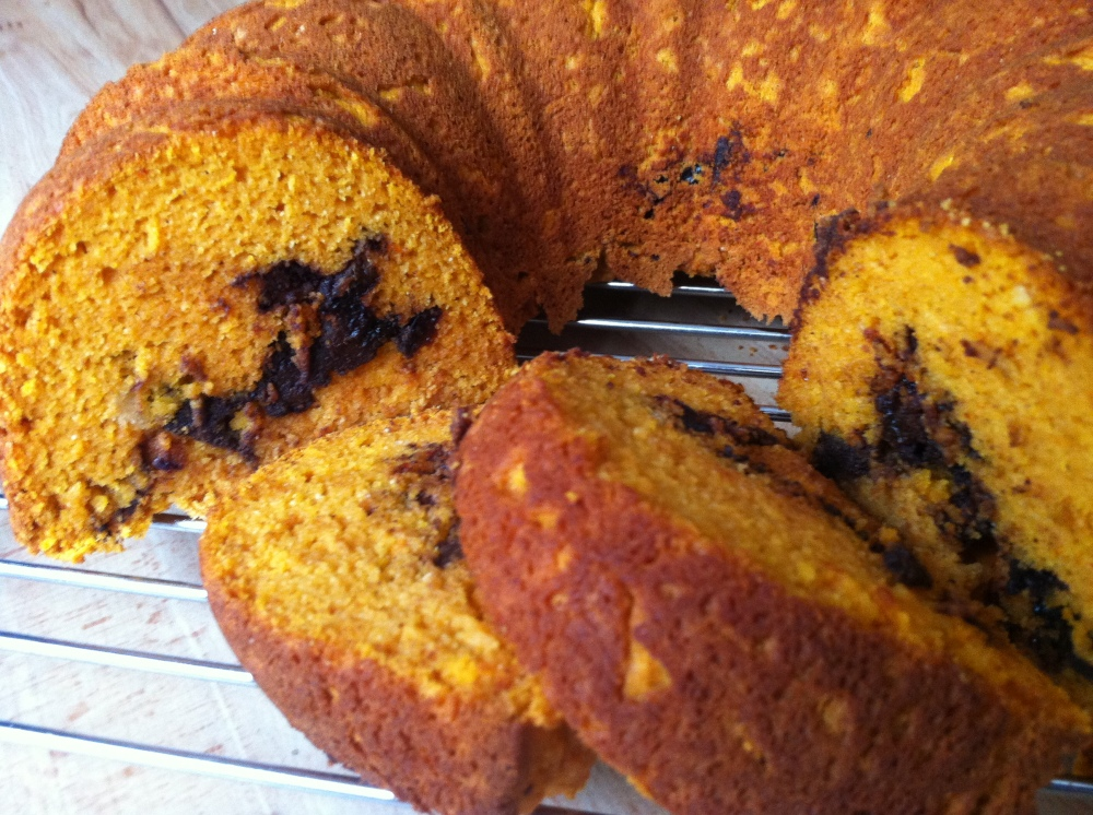 the pumpkin cake slices beautifully, revealing the filling