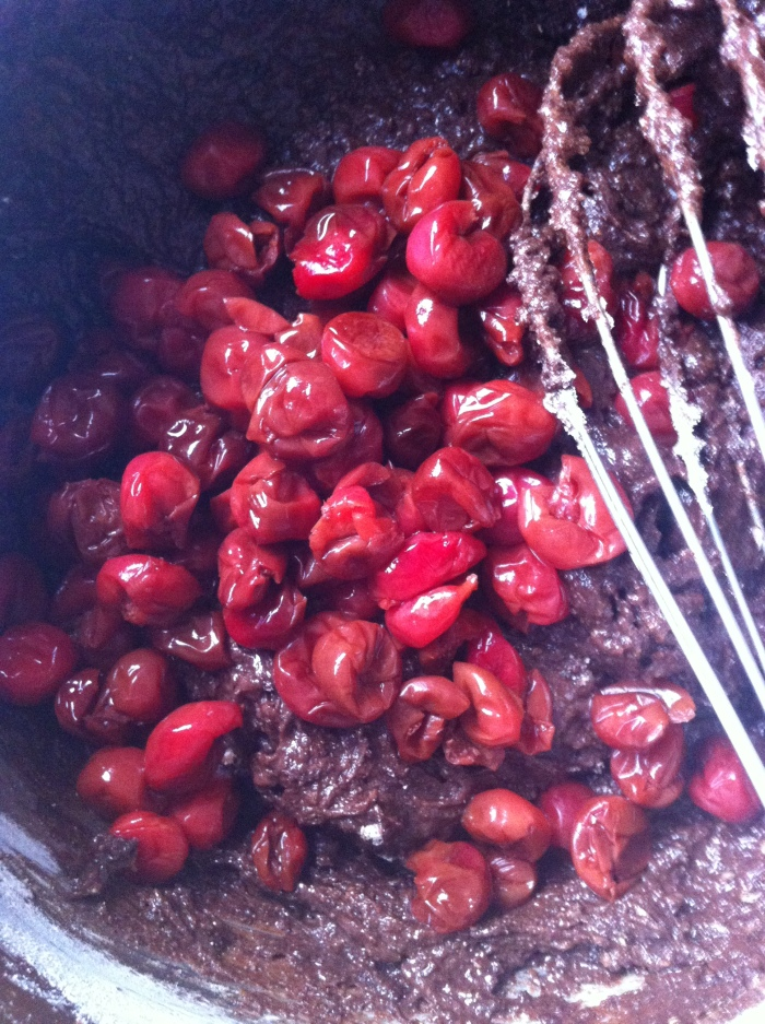 sour cherry chocolate batter