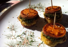 """Garbanzo Artichoke Sliders with Sundried Tomatoes, Lemon Basil Pesto and Sweet Potato """"Buns"""""""
