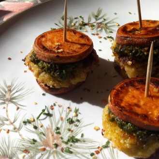 "Garbanzo Artichoke Sliders with Sundried Tomatoes, Lemon Basil Pesto and Sweet Potato ""Buns"""