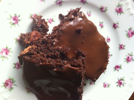 sour cherry chocolate brownies with browned butter chocolate glaze