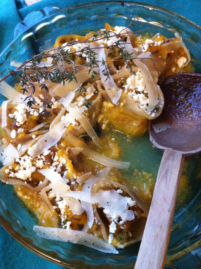 "Butternut Squash and Feta Stuffed Pasta Shells with ""Under the Leaves"" Herbs"