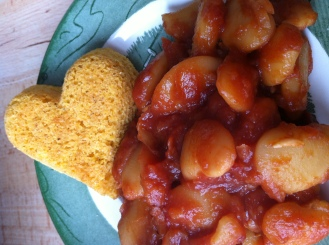 Chipotle barbequed baked beans...and a Cornbread Heart