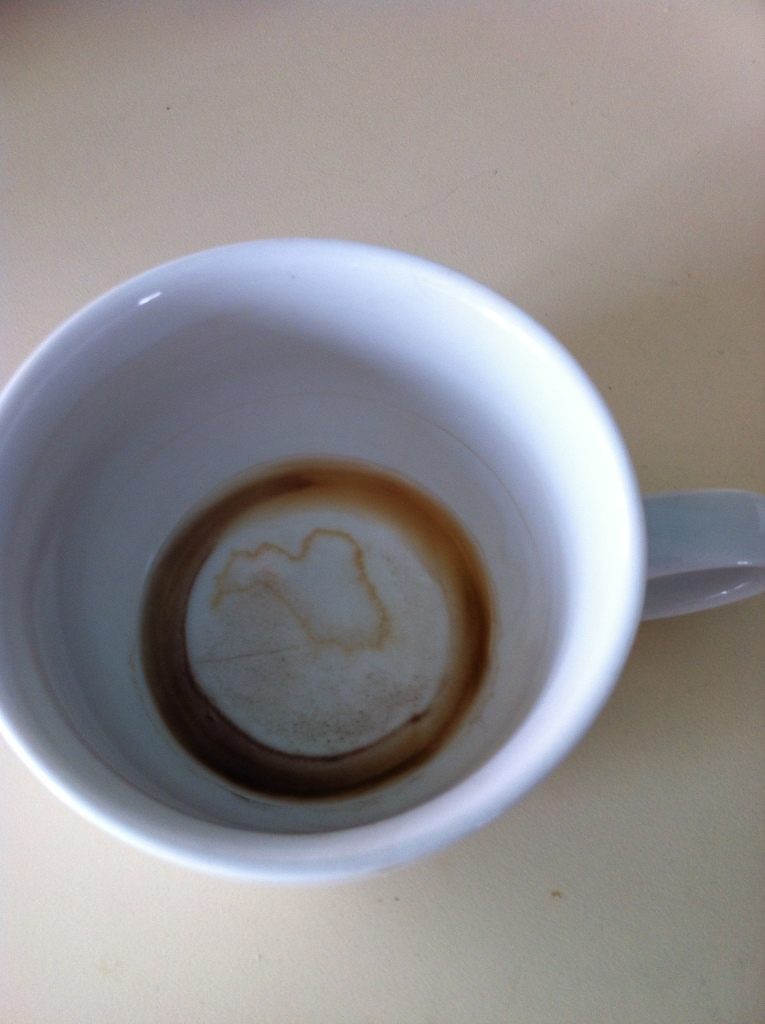 """Rorchasach blot coffee stain = """"get out there! dig in dirt"""""""