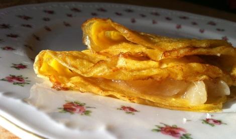 Amaretto pear preserves tucked into a crepe