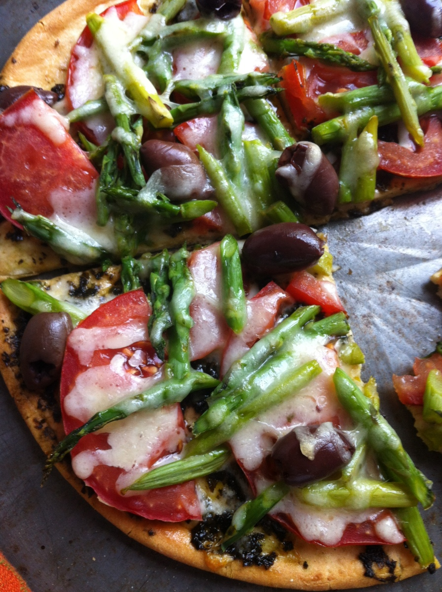 Snow! and Grilled Asparagus Pizza with Oregano Lemon Pesto