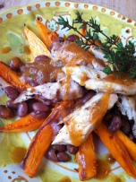 Peppered chicken with sweet potato fries, smoked paprika red beans and peach hot sauce