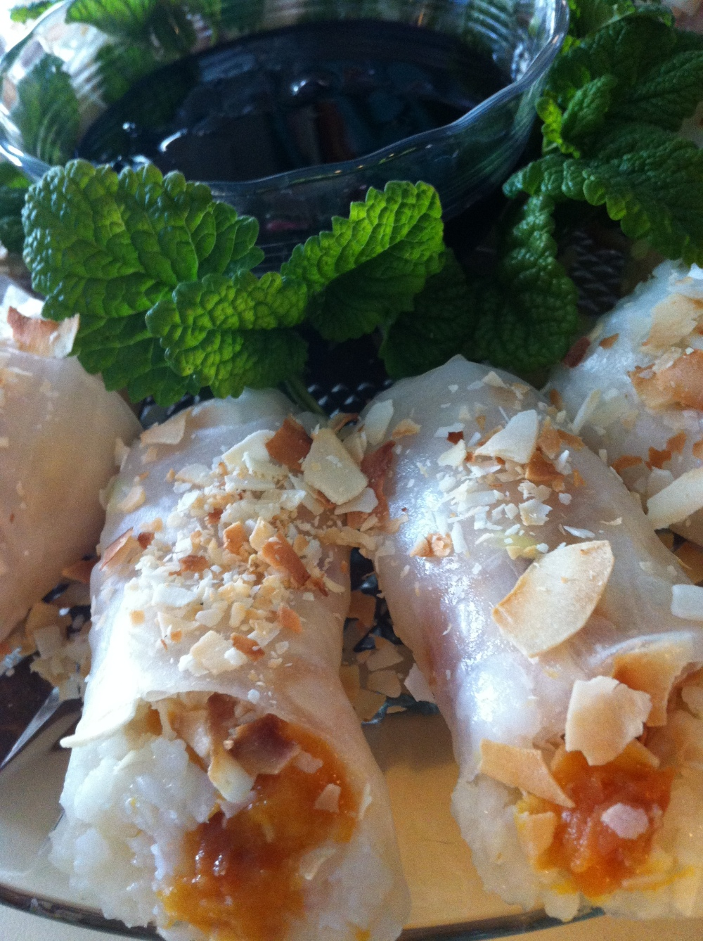 Coconut Rice, Peach and Ginger Dessert Spring Rolls - with Spicy Elderberry Dipping Sauce and Lemon Balm
