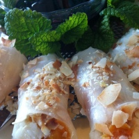 Coconut Rice, Peach and Ginger Dessert Spring Rolls