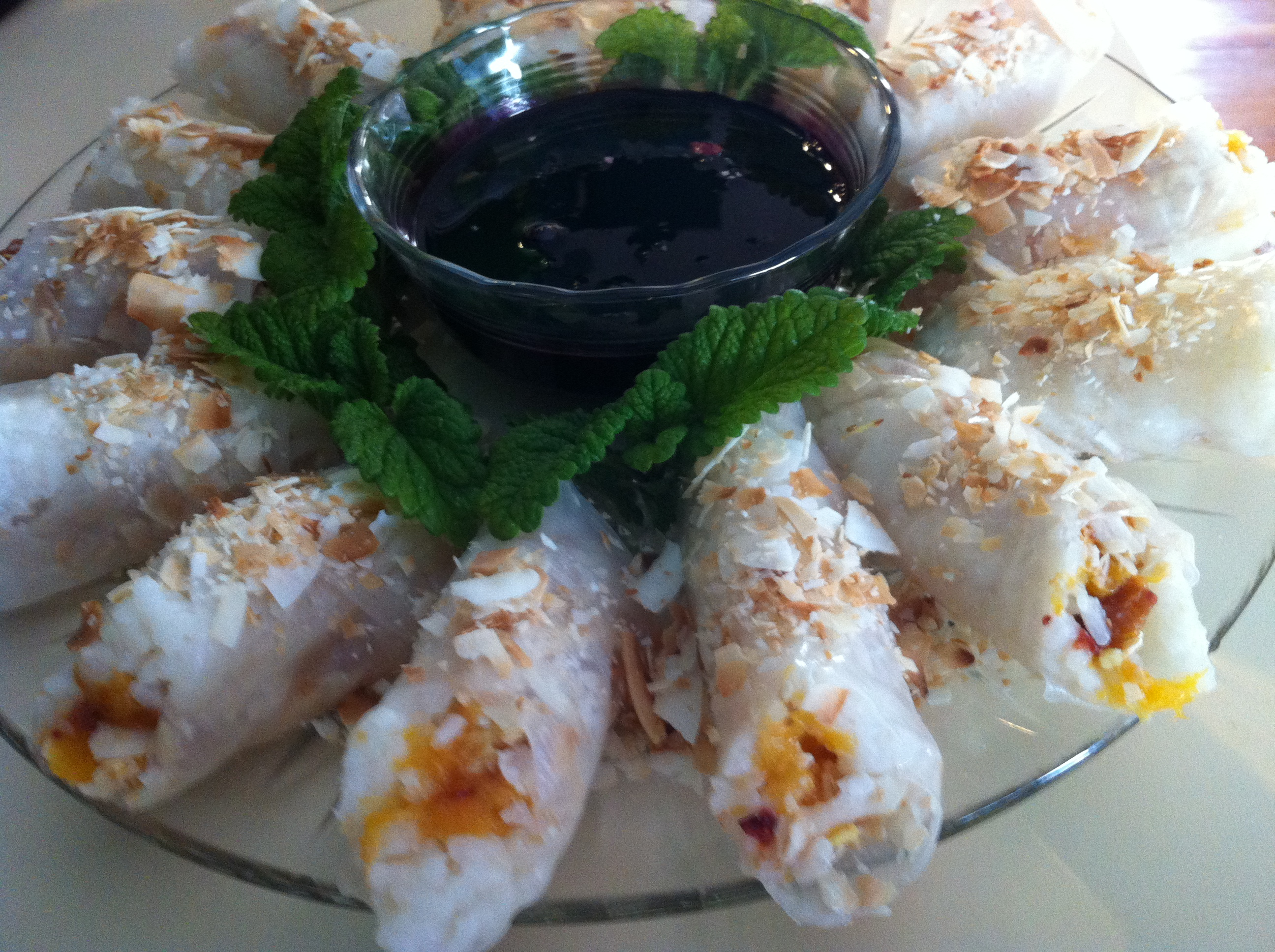 Coconut Rice, Peach and Ginger Dessert Spring Rolls | Pachamama's ...