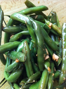 ginger, tamari, toasted sesame oil marinated green beans - from the 2012 garden!