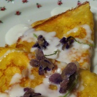 Spring Crepes with Fresh Goat's Milk Yogurt and Maple Sugared Violets