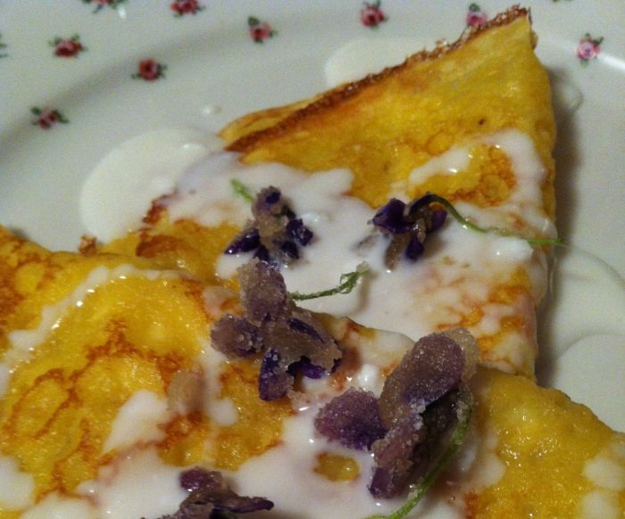 Wishing you a happy spring with Orange scented crepes, fresh goat's milk yogurt and maple sugared violets