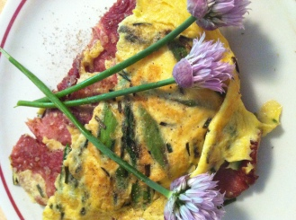 Double Sided: Asparagus Frittata with Uncured Turkey Bacon, Romano Cheese and Chives