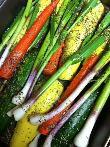 herbs, oil, chili pepper flakes and coarse salt for the vegetables - and we're excited to taste grilled ramps!