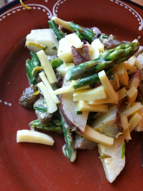 Red Potato, Asparagus and Smoked Oyster Salad with Sharp White Cheddar and Lemon Zest