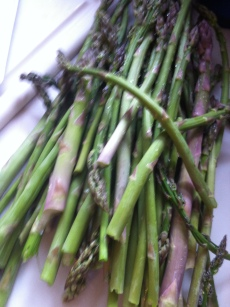 the mess of freshly picked asparagus