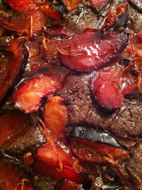 plums brushed with honey straight out of the oven