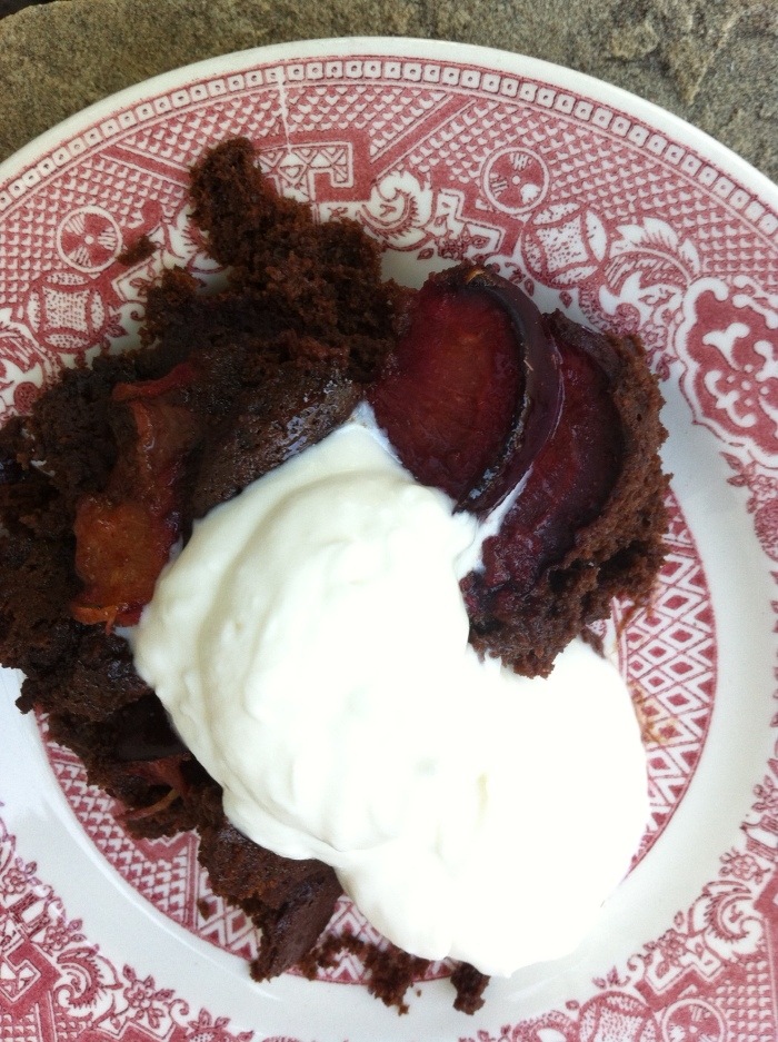 Chocolate Plum Buckle with Honey Whipped Cream