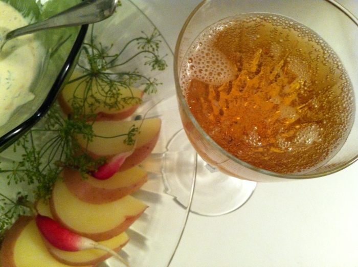 a bit of bubbly (hard apple cider) with the herby dip and vegetables