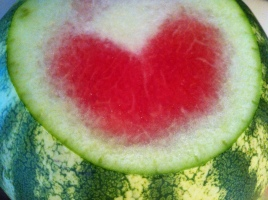 slicing into the watermelon for the going away party, I am confronted with LOVE
