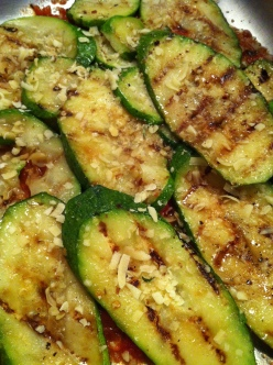 slightly smoky, grilled zucchini layered into the casserole...