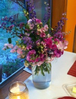sweet peas on a sweet friend's table for me