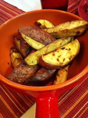 grilled sweet potato fries with herbs