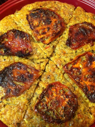 """""""Solstice Bread"""" my friend created for our dinner, with sundried tomatoes from her garden"""