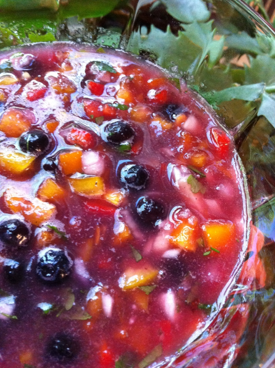 Watermelon Blueberry Gazpacho