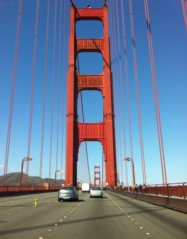 driving north over the iconic Golden Gate bridge