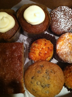 Flour Chylde Bakery's amazing gluten free offerings, including pumpkin chai cakes, lemon coconut cake, cinnamon coffeee cake, macaroons and pure chocolate...