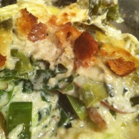 Leek Gratin with Asiago Jarlsberg Mornay Sauce