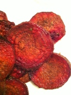 last of the beets = rosemary beet chips in January