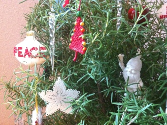rosemary bush in a new life role for winter