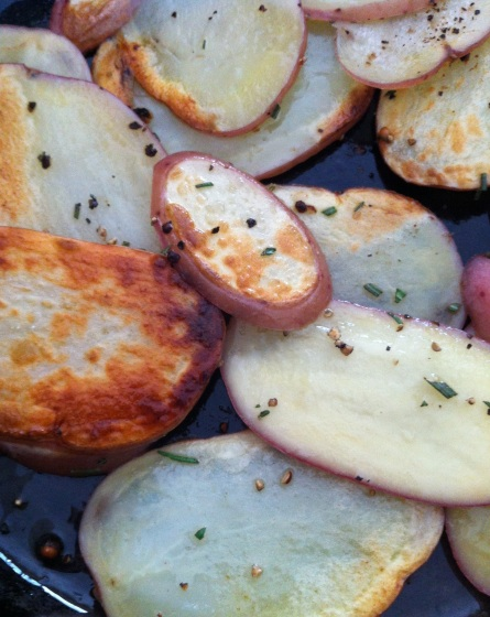 discovery of a couple of huge potatoes while digging in March yielded a nice pan of home fries with rosemary
