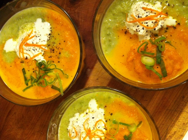 Carrot and tarragon vichyssoise and spring pea, fennel and orange soup